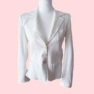 Armani Collezioni White Buttoned Fitted Blazer L